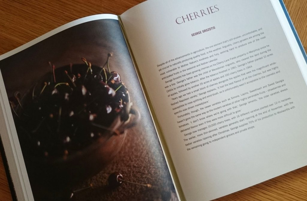 Our cherries and a write up on our farm featured in the Food of the Southern Forrests Cookbook by Sophie Zalokar.